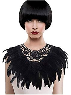 d4d6ffdf6eb5 L'vow Real Black Feather Harness Lace Collar Necklace Bib Halloween (Black)