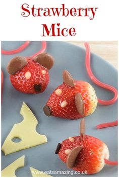 These strawberry mice make super cute healthy kids party food and would be perfect for a Nutcracker party - Click here for this fun food recipe and a video tutorial too!