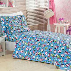 Colcha Infantil Estampada Pinguins + Porta Travesseiro