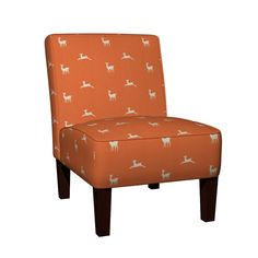 Maran Slipper Chair featuring Deer 2 - tangerine cream by drapestudio | Roostery Home Decor