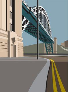 LTD EDITION GICLEE. Newcastle Swing Bridge Minimal contemporary archival art print, inspired modernist design - by Ian Mitchell A Level Art, Retro Art, Newcastle, Travel Posters, Illustration Art, Building Illustration, Minimalism, Bridge, Art Deco