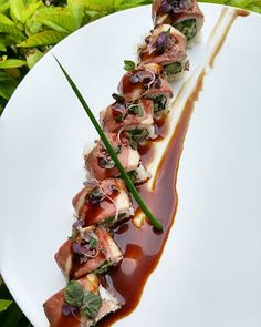 Duck tataki Maki Scallion, red onion, cucumber on the inside, top with sear crispy duck, micro shiso, ginger garlic hoisin sauce  #sushi #samba #japan #peru #brazil #coralgables #miami #sashimi #foodporn #sushiporn #cheflife #chefstalk #theartofplating #sushipornme #gastronogram #beautifulcuisines #foodstarz #myfab5 #dontshootthechef #chefsofinstagramn