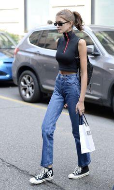 Kaia Gerber's Best Street-Style Looks Style Kaia Gerber, Look Casual Chic, Look Street Style, Street Style Summer, Gerbera, Looks Style, Looks Cool, Modell Street-style, Looks Gigi Hadid