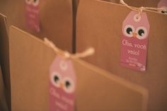 """Birthday party favors and """"thank you for coming"""" cards. Owl birthday party - Ana turned 2!"""