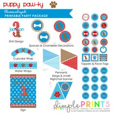 Puppy Blue Red Brown Deluxe Printable Party - Dimple Prints Shop