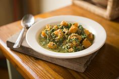 Pumpkin and spinach stew, Ayurvedic recipe for new mothers. pozible.com/nourishingnewbornmothers