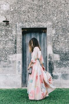 casual pink printed wedding guest dress