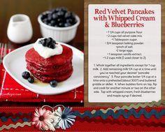 red velvet pancakes with whipped cream breakfast blueberries american recipe fourth of july july 4th food ideas red white and blue recipes fourth of july food ideas ic pancakes