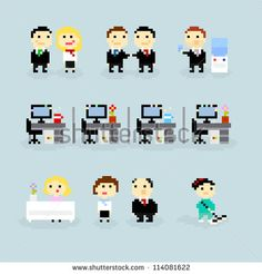 Stock Images similar to ID 135825971 - set of pixel people icons ...