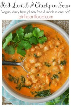 This Curried Red Lentil and Chickpea soup has a nourishing coconut milk base, lots of kale and a little spice. It comes together in one pot for a comforting meal, sure to warm you up! # Curried Red Lentil Soup with Chickpeas & Kale Vegetarian Soup, Vegan Soups, Vegetarian Recipes, Spicy Lentil Soup, Chickpea Soup, Coconut Lentil Soup, Lentil Curry, Coconut Curry, Healthy Soup Recipes