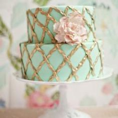 Mint + Gold Cake