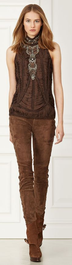 Ralph Lauren ~ Leanna Macrame Top + Saddle Brown Suede Jeans