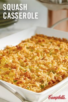 Find all the healthiest ways you can cook with zucchini and yellow squash in our ultimate recipe collection: Summer squash casserole, zucchini pasta, Southern Squash Casserole, Summer Squash Casserole, Yellow Squash Casserole, Recipe For Squash Casserole, Stuffing Casserole, Casserole Dishes, Casserole Recipes, Stuffing Mix, Cornbread Stuffing