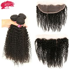 Mongolian Kinky Curly Hair With Closure Full Lace Frontal 3 Bundles With Frontal Closure 7a Hair Bundles With Lace Frontals HC - http://jadeshair.com/mongolian-kinky-curly-hair-with-closure-full-lace-frontal-3-bundles-with-frontal-closure-7a-hair-bundles-with-lace-frontals-hc/  Hair Weft & Closure ( & Bang)