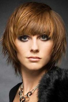 Bob Hair with Nice Bangs, Awesome Layers and Hues of Copper Blonde