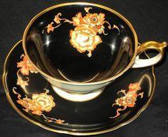 Royal Bayreuth Antique Bavaria Germany Black Tea Cup and Saucer Set