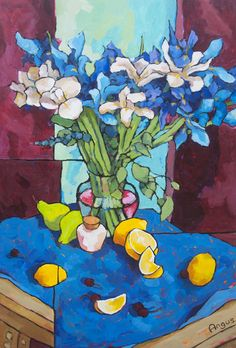 blue iris on blue by Angus Wilson