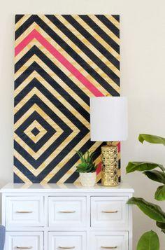 DIY Wall Art Diamond Artwork Gold Table Lamp Indoor Plants White Dresser in Bedroom