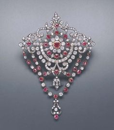 Antique Diamond And Ruby Devant-de-Corsage Mounted In Silver And Gold    c.1870's Christie's