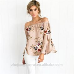 c023820aabd358 2017 Women Summer Printing Flare Sleeve Latest Fashion Blouse Design Lady  Blouse Floral Blouse