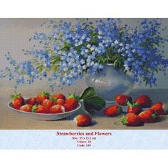 Cheap art work, Buy Quality home decor directly from China art decor Suppliers: No Frame Landscape Pictures Oil Painting By Numbers Canvas Painting Hand Painted Home Decor Art Work Oil Painting On Canvas, Diy Painting, Strawberry Decorations, Flowers Gif, Blue Flowers, Creation Photo, Paint By Number Kits, Hand Painted Canvas, Still Life Art