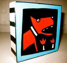 Red Dog plus Tulips 4x4 Wood Block Original by AnnesArtBlocks, $32.00