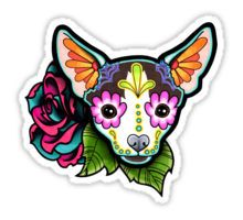 Day of the Dead Chihuahua in Moo Sugar Skull Dog Sticker