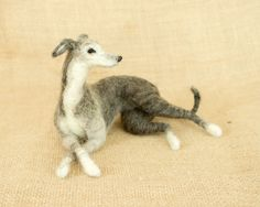 RESERVED FOR Tina: Noelle the Greyhound Needle felted animal sculpture