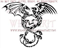 Entwined Dragon And Phoenix Tribal Design by WildSpiritWolf on DeviantArt