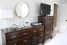Tarva Dresser Hack- Minwax dark walnut stain and Minwax clear semi-gloss polyurethane.