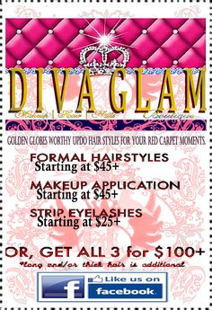 Like us on Facebook and get 50% off Formal Hair Styles and Makeup Applications  https://www.facebook.com/pages/DIVA-GLAM-Bridal-Boutique/219016114799435?ref=stream