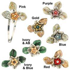 Handmade Ardent Designs Earwen Silver and Glass Flower Hair Clips