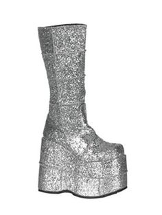 Awesome Very High Silver Glitter Demonia Platform Boot - 10