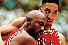 """""""He ain't heavy, he's my brother."""" June 11, 1997. Michael Jordan, though incredibly sick with the flu, insists on playing in Game Five of the NBA Finals. He scored 38 points, including the game winner, then stumbled into Scottie Pippen's arms. <3"""