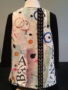 Graffiti/drop cloth. Peony vest pattern from The Sewing Workshop Back view.