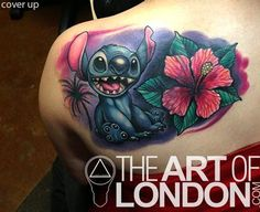 Stitch Cover Up Tattoo by London Reese - Disney Stitch from Lilo and Stich Tattoo. Cover up of an older Sleeping Beauty tattoo, of all things! Disney Stitch Tattoo, Disney Tattoos, Cover Up Tattoos, Body Art Tattoos, Sleeve Tattoos, Cool Tattoos, Tatoos, Lilo Stitch, Blackwork