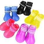 Cat / Dog Shoes & Boots Waterproof Winter / Spring/Fall Solid Yellow / Blue / Purple / Black / Pink Silicone 2016 - $5.59