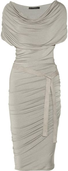 Donna Karan New York Belted Draped Stretch-jersey Dress - Lyst