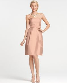 f6f6f64c01 Ann Taylor Silk Dupioni Strapless Bridesmaid Dress in Pink (lush sangarita)