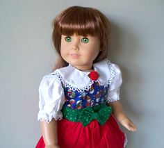American Girl Doll clothes  Christmas doll dress by WhisperingOak