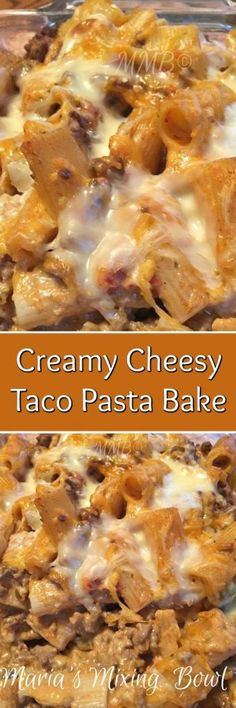 Creamy Cheesy Taco Pasta Bake- An easy and cheesy taco pasta bake! This pasta is creamy, cheesy, and oh so yummy. Full of taco flavors, a family favorite.
