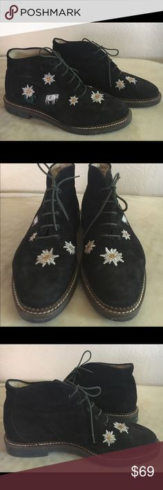 Hans Behr suede booties Darling and in excellent condition. Machine embroidered daisies and cows. The daisies have golden yellow rhinestone embellishment. Quality booties with no damage or defects.  Marked euro size 49, fit a 9 great. Hans Behr Shoes Ankle Boots & Booties