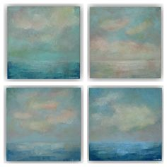 Set of 4 Cloud Oil Paintings- Blue Turquoise White Abstract Landscapes- Small 10 x 10 Paintings- Palette Knife Art on Canvas on Etsy, $240.00