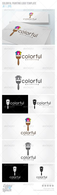 Colorful Painting Logo Template #GraphicRiver Clean logo template, suitable for any business / organization related to home – building painting or any other business related.