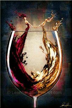 """Ring Around The Rosé (Soirée Motif)"" by © Leanne Laine Fine Art Art Du Vin, Wine Glass, Glass Art, Wine Painting, Vides, Wine Art, Illustration Mode, Art Original, Wine Time"
