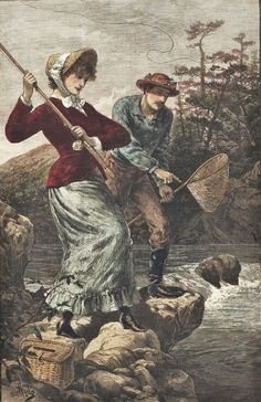 Maine- on the Megalloway - A Lesson in Fly-Fishing. Published by Frank Leslie's Illustrated Newspaper, June 23, 1883