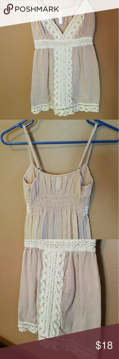 Light Antique Rose and Lace V-neck Top Only worn once and well taken care of...adorable lace detailing! Adjustable straps, size Small. Xhilaration Tops Tank Tops