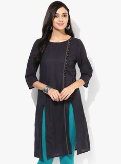 a1594101a8d Buy Mustard Black Solid Kurta for Women Online India