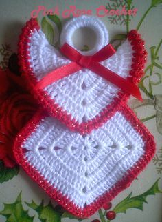 Ideas for knitting christmas decorations granny squares - Granny Square Knitted Christmas Decorations, Crochet Christmas Ornaments, Christmas Crochet Patterns, Holiday Crochet, Christmas Knitting, Crochet Gifts, Christmas Angels, Free Crochet, Crochet Angel Pattern