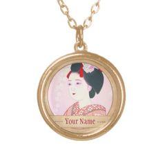 Kyoto Brocade, Four Leaves - Spring japanese lady Custom Necklace #kyoto #spring #lady #beauty #geisha #pink #kimono #cherry #sakura #Japan #oriental #vintage #gift #classic #girl #girly #pinky